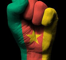 Flag of Cameroon on a Raised Clenched Fist  by Jeff Bartels