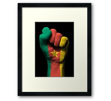 Flag of Cameroon on a Raised Clenched Fist  Framed Print
