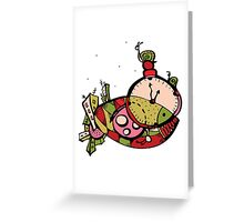graphic time mysterious fish Greeting Card