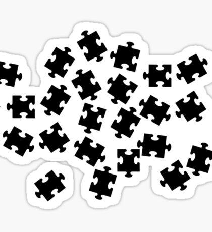 Black jigsaw puzzle Sticker