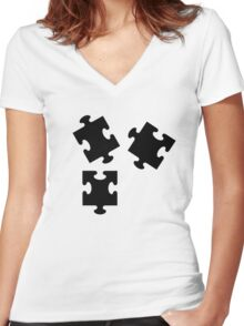 Jigsaw puzzle Women's Fitted V-Neck T-Shirt