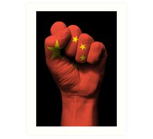 Flag of China on a Raised Clenched Fist  Art Print