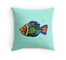 bright colored sea fish Throw Pillow