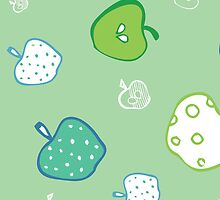 green apples pattern background by handik