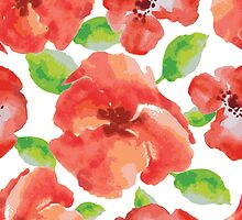 watercolor red flowers with green leaves by handik
