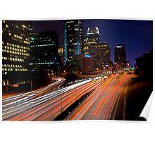 Los Angeles Freeway At Night Poster
