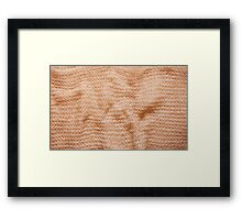 Beige fluffy knitted fabric texture  Framed Print