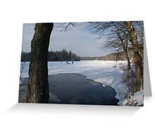 Ice Fishing on Barber's Pond. Greeting Card