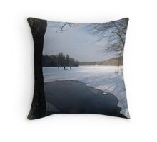 Ice Fishing on Barber's Pond. Throw Pillow