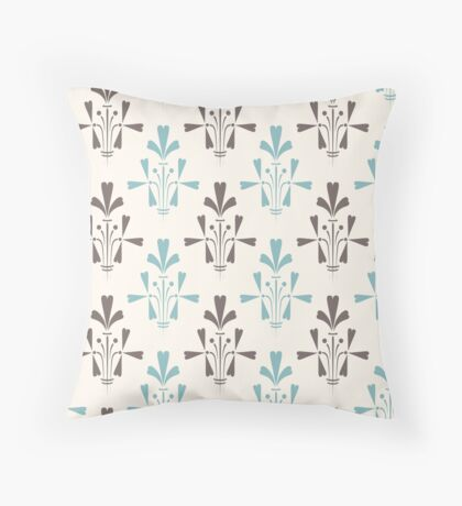Beige and blue luxury ornamental pattern Throw Pillow