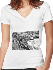 Agropoli: landscape with beach Women's Fitted V-Neck T-Shirt