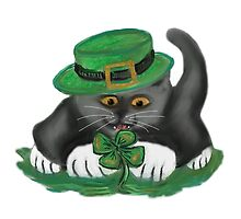 Patty, the Grey Kitten, Loves Four Leaf Clovers by NineLivesStudio