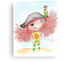 Flossy - the pirate with parrot Canvas Print
