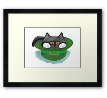 Tuxedo Kitten Fits inside a Leprechaun's Hat Framed Print
