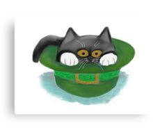 Tuxedo Kitten Fits inside a Leprechaun's Hat Canvas Print