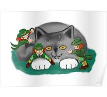 Three Leprechauns and a Kitten are Friends Poster