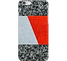 Red warning tape across granite stone iPhone Case/Skin