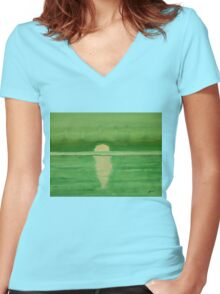 Intracoastal original painting Women's Fitted V-Neck T-Shirt