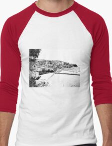 Agropoli: landscape with port and beach Men's Baseball ¾ T-Shirt