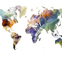 World Map watercolor painting by JBJart