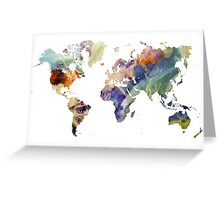 World Map watercolor painting Greeting Card