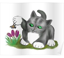 Bee Finds a Crocus and Kitten  Poster