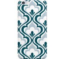 Cyan Blue Geometric Floral Mod Contemporary Retro - Small Print iPhone Case/Skin