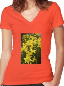 """A Host Of Golden Daffodils"" Women's Fitted V-Neck T-Shirt"