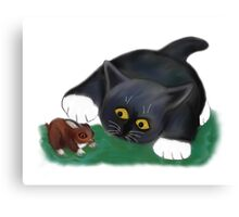Tuxedo Kitten Pets his Friend, Bunny Canvas Print