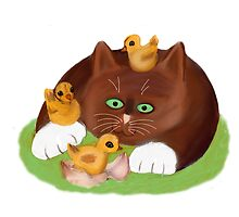 Tuxedo Kitten and Three Newly Hatched Chicks by NineLivesStudio