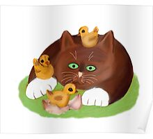 Tuxedo Kitten and Three Newly Hatched Chicks Poster