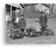 Children with Pedal Cars, 1924 Canvas Print