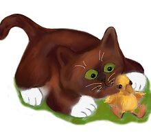 Kitten and Duckling  are Best Friends  by NineLivesStudio