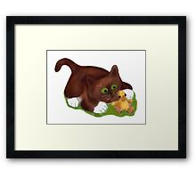 Kitten and Duckling  are Best Friends  Framed Print