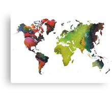 Map of the world green red Canvas Print