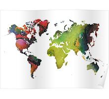Map of the world green red Poster