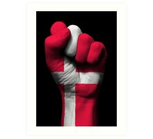 Flag of Denmark on a Raised Clenched Fist  Art Print