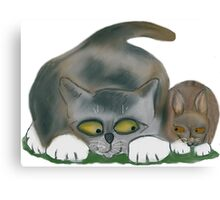 Bunny and Kitten are Friends Canvas Print