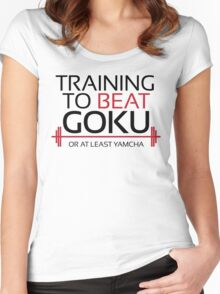 Training to beat Goku - Yamcha - Black Letters Women's Fitted Scoop T-Shirt