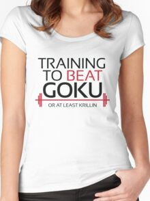 Training to beat Goku - Krillin - Black Letters Women's Fitted Scoop T-Shirt