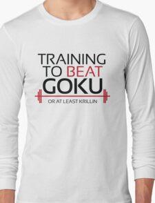Training to beat Goku - Krillin - Black Letters Long Sleeve T-Shirt
