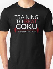 Training to beat Goku- Mr.Satan- White Letters T-Shirt