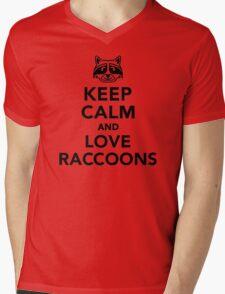 Keep calm and love raccoons Mens V-Neck T-Shirt
