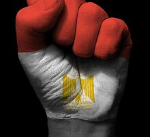 Flag of Egypt on a Raised Clenched Fist  by Jeff Bartels