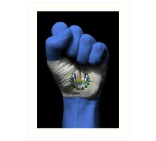 Flag of El Salvador on a Raised Clenched Fist  Art Print