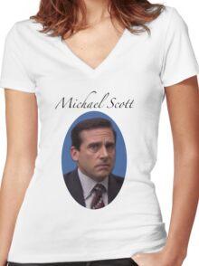 Michael Scott  Women's Fitted V-Neck T-Shirt