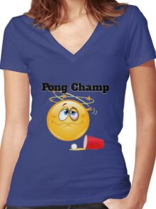 pong champ Women's Fitted V-Neck T-Shirt
