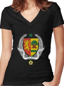 Coat of arms of Senegal Women's Fitted V-Neck T-Shirt