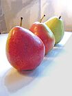 Three Pears in Red and Green by Margie Avellino