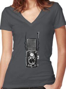 Classic Retro Rolleiflex Twin Lens Reflex Film Camera Women's Fitted V-Neck T-Shirt